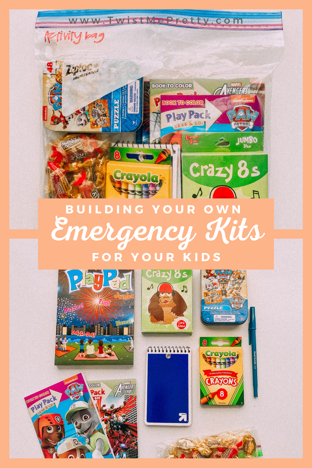 Building your own emergency kits for your kids. What you should pack! www.twistmepretty.com