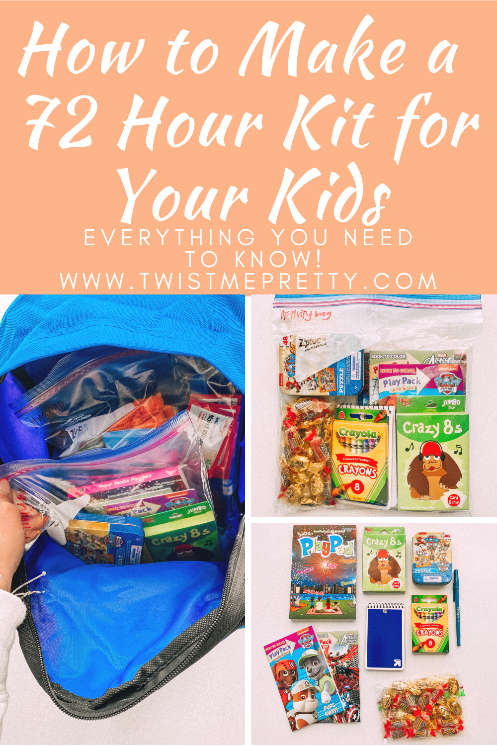 How to Make a 72 Hour Kit for your Kids www.twistmepretty.com
