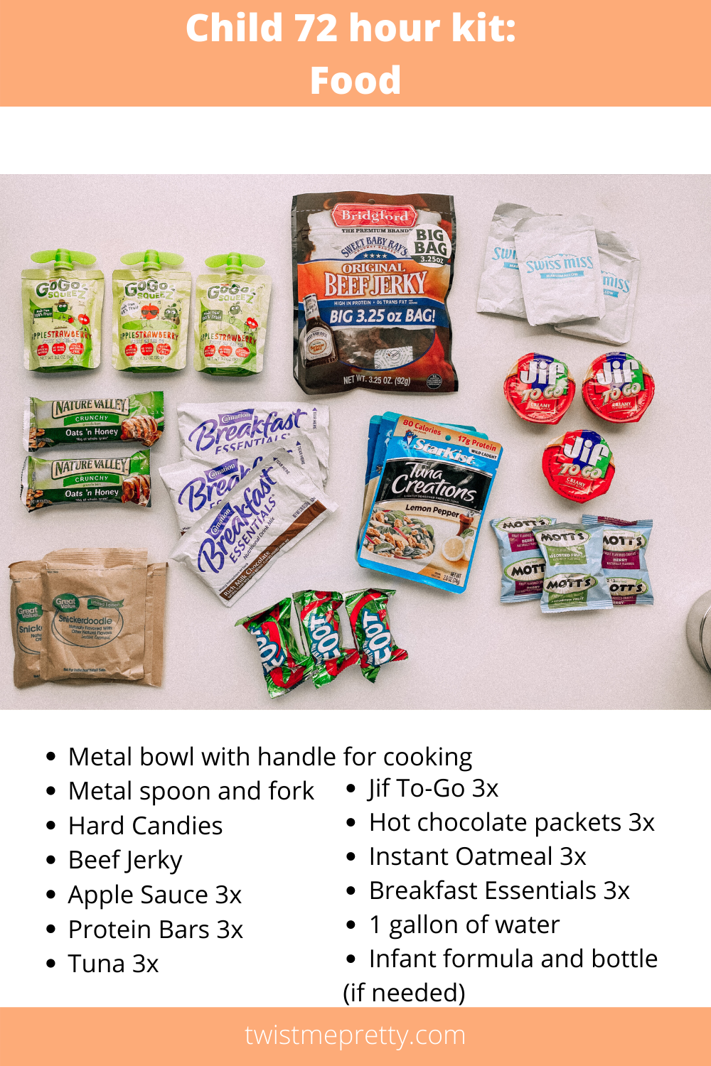 My ultimate guide to 72 hour kits for your kids what's in my food kit www.twistmepretty.com