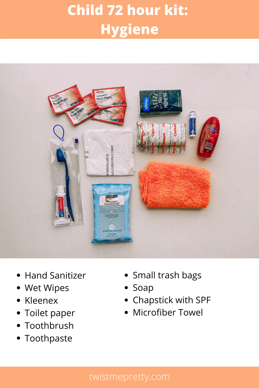 How to build a 72 hour kits for your kids hygiene kit www.twistmepretty.com