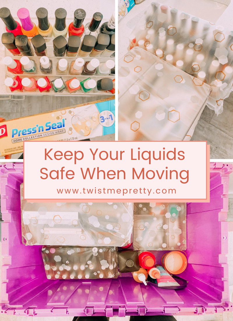 Keep your liquids safe when moving with this trick. www.twistmepretty.com