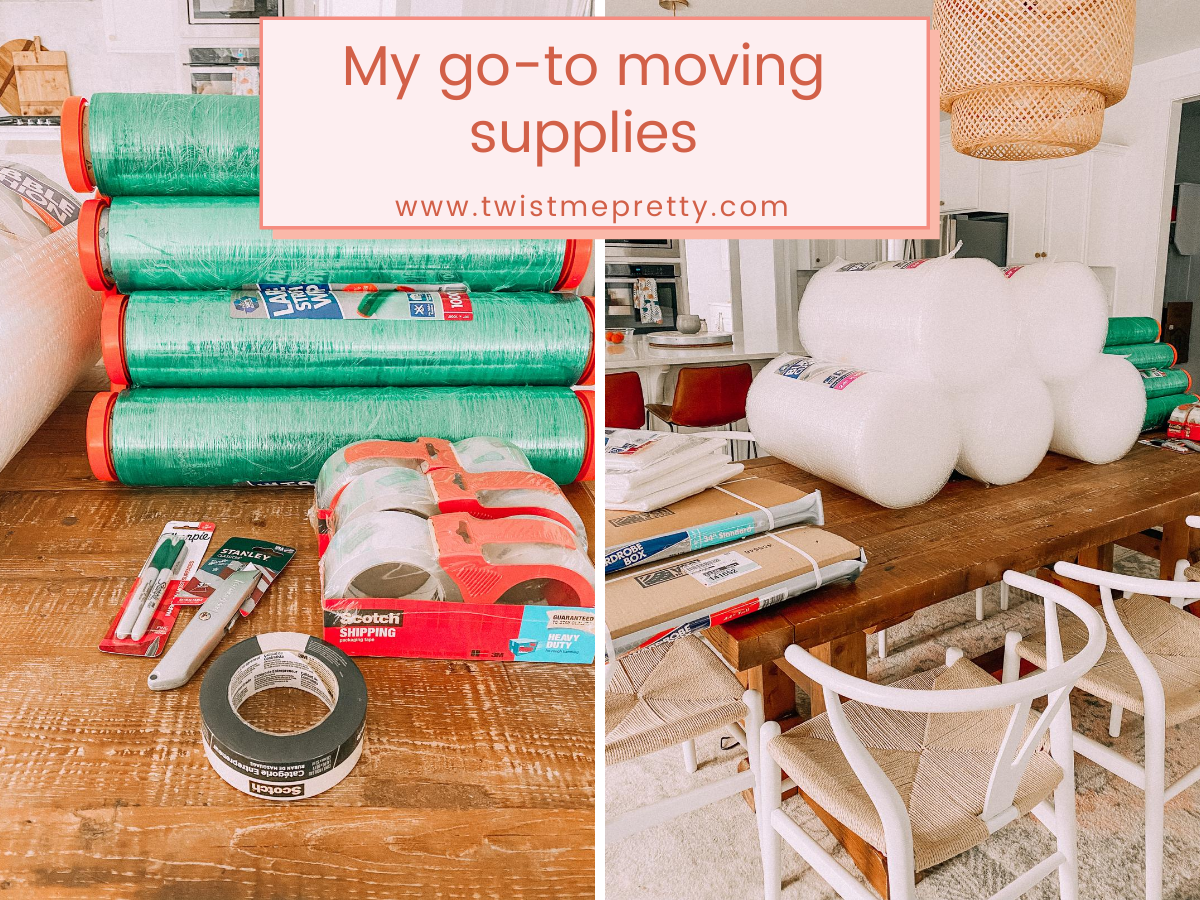 My go-to moving supplies to make moving easier. www.twistmepretty.com