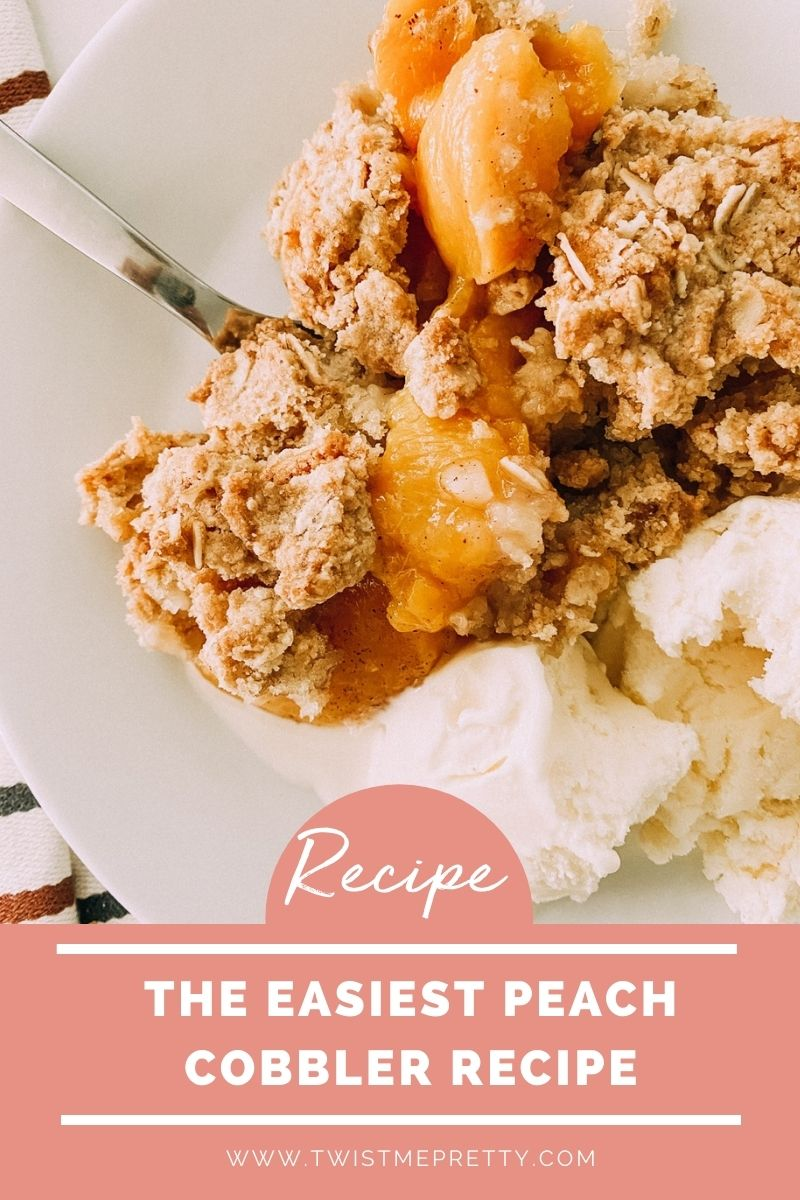 Yummy and Easy Peach Cobbler Recipe with Canned Peaches www.twistmepretty.com