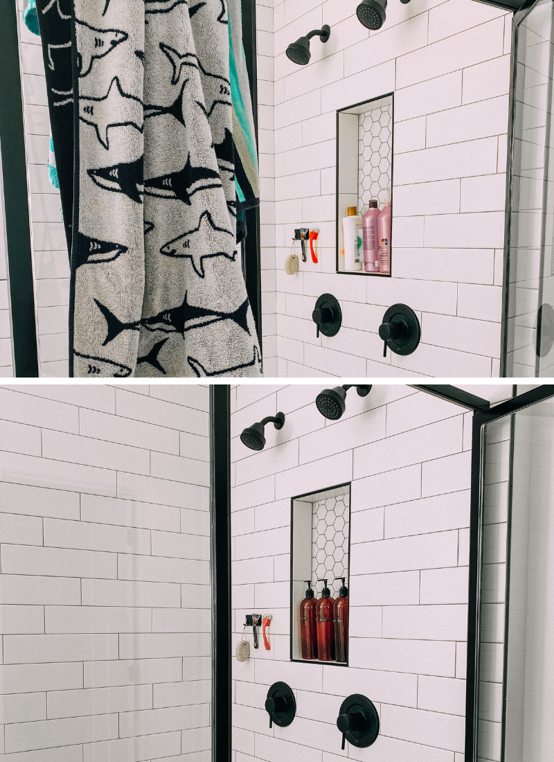 Before and After of my shower refresh! www.twistmepretty.com