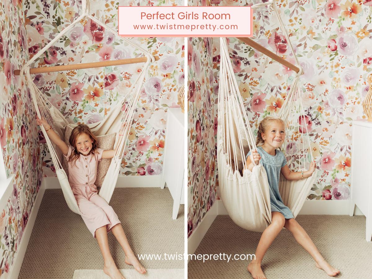 Swing in the shared girls room www.twistmepretty.com