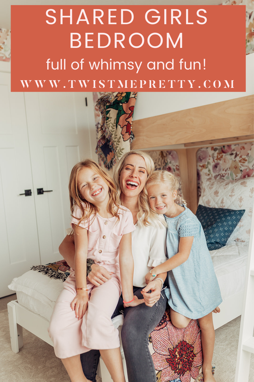 Shared Girls Bedroom full of whimsy and fun! www.twistmepretty.com