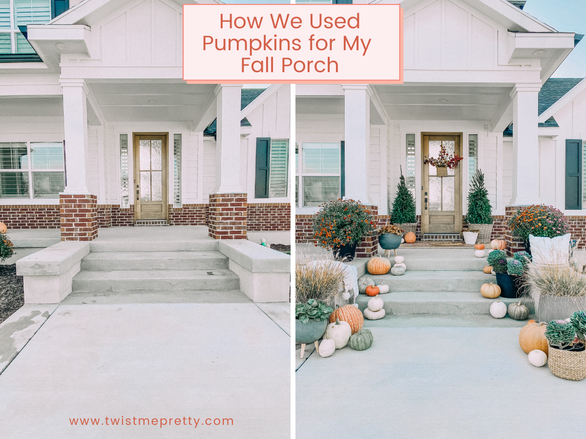 How we used pumpkins for my fall front porch. www.twistmepretty.com