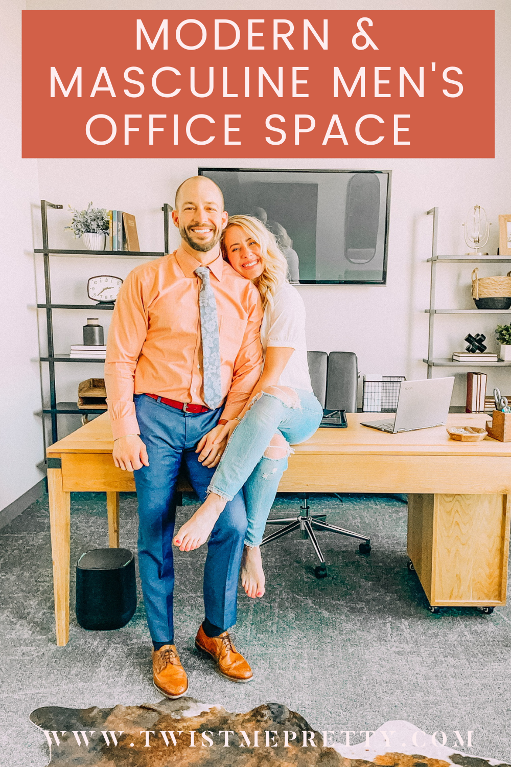 Modern and Masculine Office Space Reveal www.twistmepretty.com
