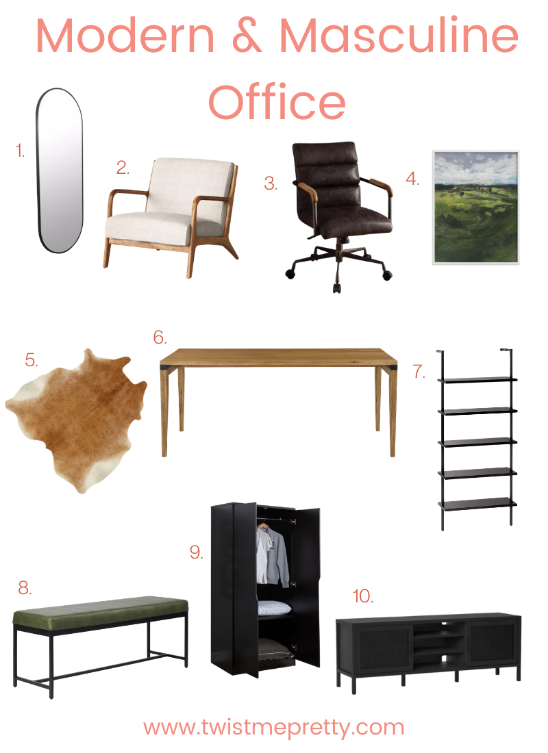Modern and Masculine Office Space Necessities www.twistmepretty.com