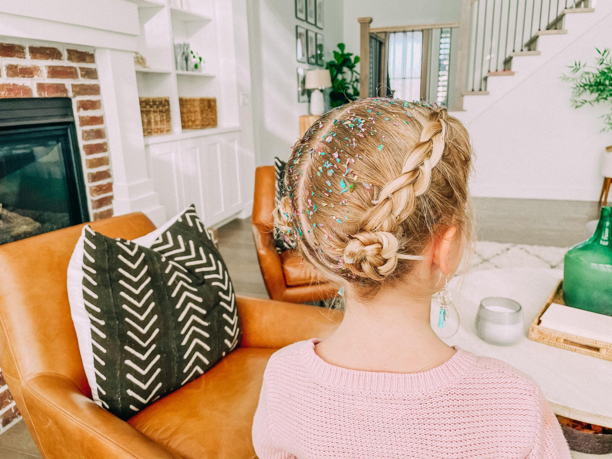 dutch braid and glitter crazy hair twistmepretty.com