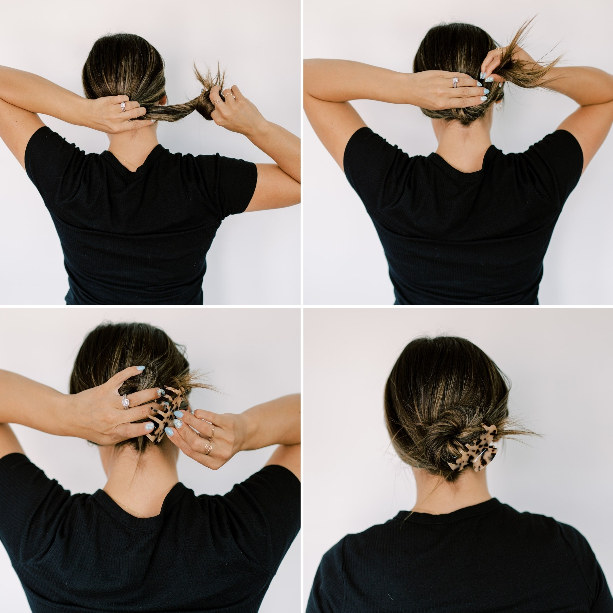 low bun held together with a claw clip. www.twistmepretty.com