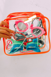 store your goggles in a clear pack to keep them organized. www.twistmepretty.com